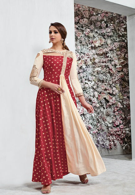 Red Taffeta Silk Floor Length Suits  Indo Western Dress With Price