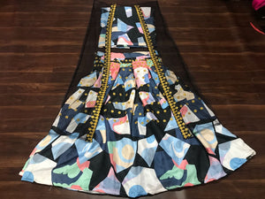 Multi Color Abstract Pattern Digital Print Latest Bollywood Lehenga Choli