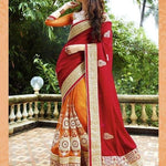 Red and Orange Bollywood Sarees Online Dress ,Indian Dresses - 1