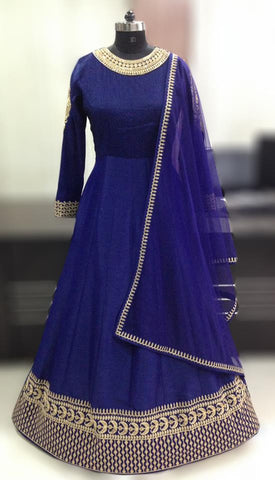 Navy Blue Bangalori Silk With Embroidery Anarkali Suit ,Indian Dresses - 2