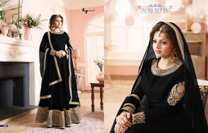 Black Banglori Silk Bollywood Floor Length Suit ,Indian Dresses - 1
