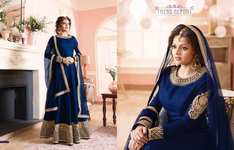 Navy Blue Bangalori Silk With Embroidery Anarkali Suit ,Indian Dresses - 1