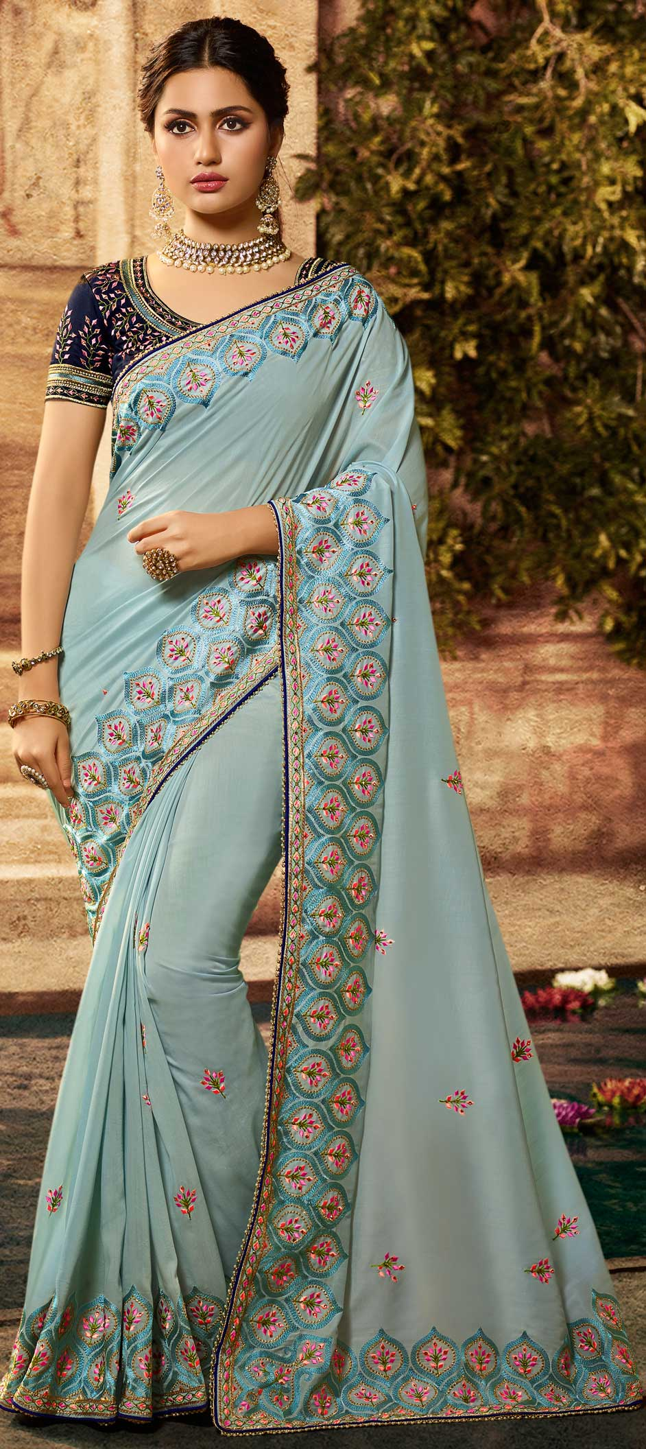 Greyish Blue Cotton Silk Embroidered New Party Saree Online