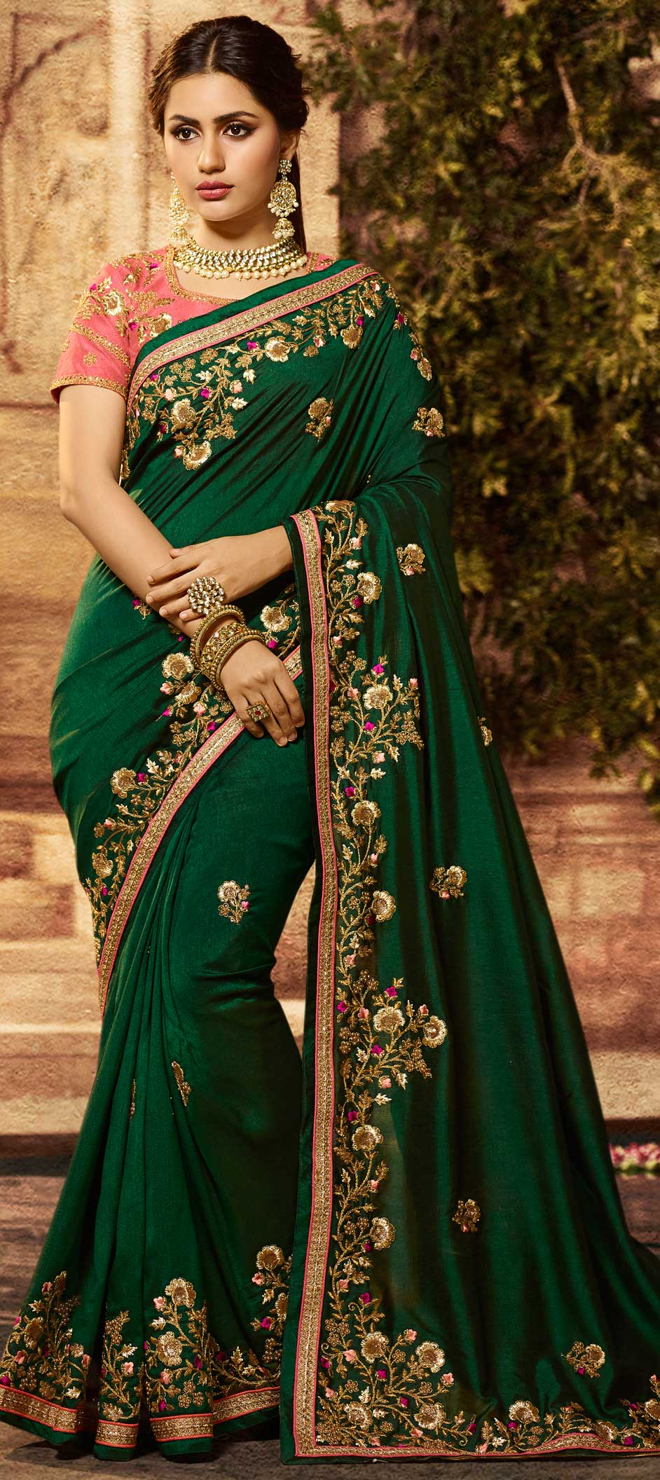 Dark Green Silk Embroidered Wedding Wear Saree Online Shopping India