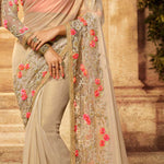 Beige Lycra Embroidered Indian Party Saree Blouse Online Shopping