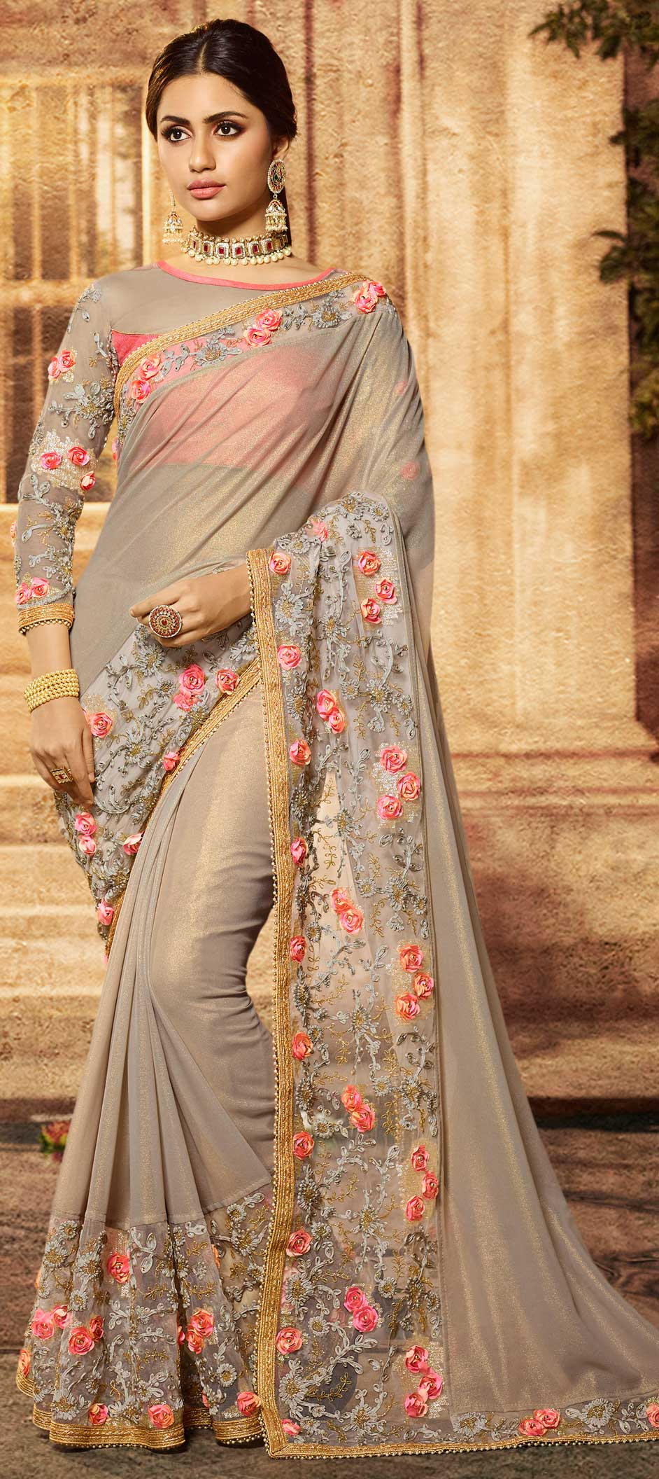 Light Grey Lycra Resham Embroidered Indian Saree Designs Online