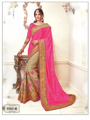 Pink And Beige Bollywood Fashion Hot Indian Sari