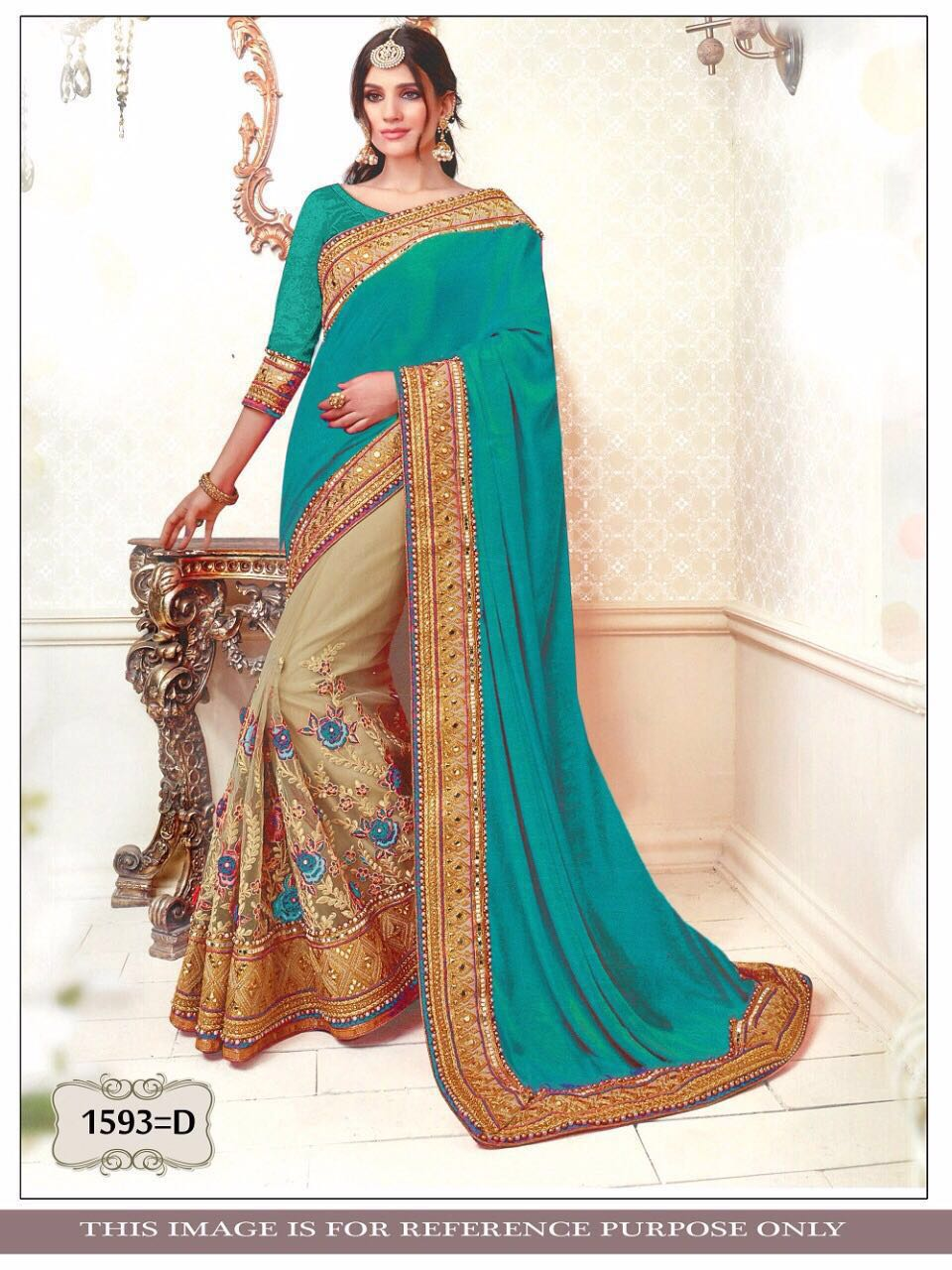 Aqua Green And Beige Bollywood Indian Saree Buy Online