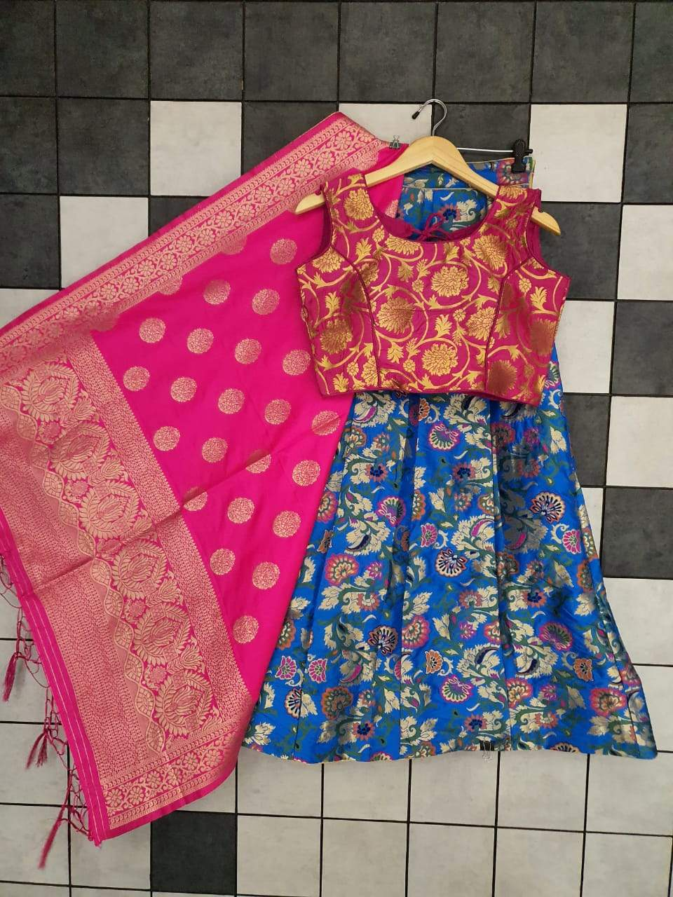 Blue Banarasi Jacquard With Sleeveless Blouse Lehenga Online