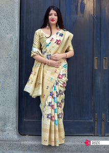 Off White Jamdani Silk Fancy Traditional Party Wear Saree Online