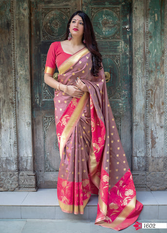 Old Rose Pure Jamdani Online Silk Saree Shopping India