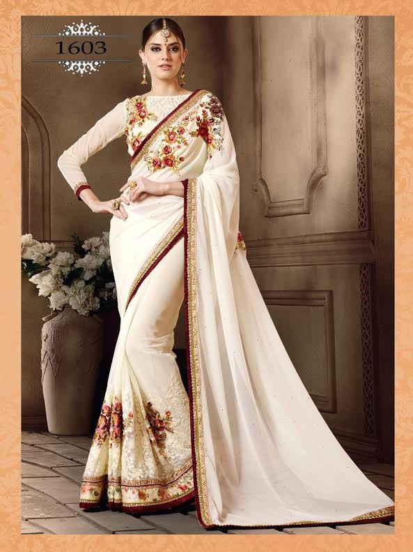 Elegant Off White Georgette Designer Sarees Sale Online ,Indian Dresses - 1