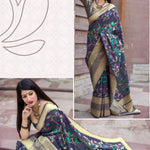 Dark Blue Pure Jamdani Silk New Latest Designer Sarees