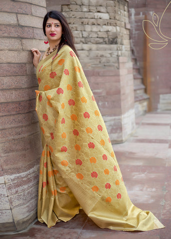 Beige Jamdani Silk Party Wear Sarees With Price In india