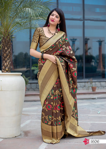 Brown Jamdani Silk Party Wear Indian Women  Sarees Online