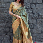 Celadon Green Jamdani Silk Latest Saree Fashion In India