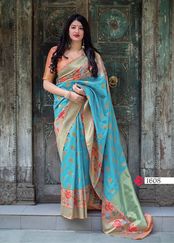 Sky Blue Jamdani Silk Fancy Designs Traditional Indian Sarees Online