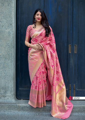Pink Jamdani Silk Party Wear New Arrivals Sarees In India