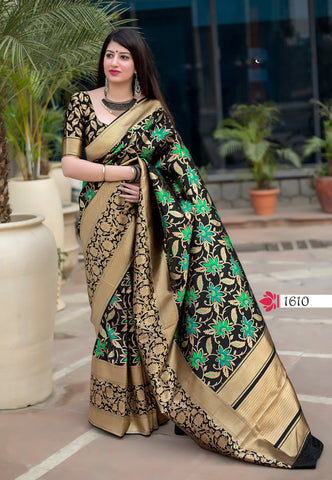 Black Jamdani Silk Party Wear Free Shipping Sarees Online