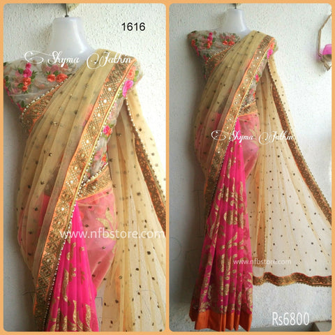 Pretty Pink Net Best Bollywood Sarees ,Indian Dresses - 1