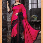 Rani Pink & Black Designer Party Wear Sarees Online ,Indian Dresses - 1