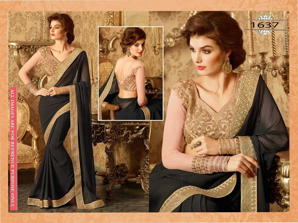 Stunning Black Designer Saree Online ,Indian Dresses - 1