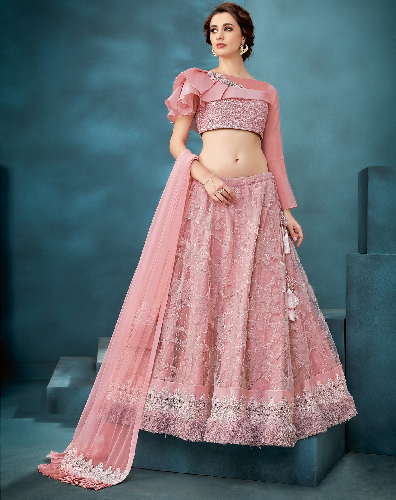 Pink Net Embroidered Party Ghagra Choli Lengha @indiandresse.co