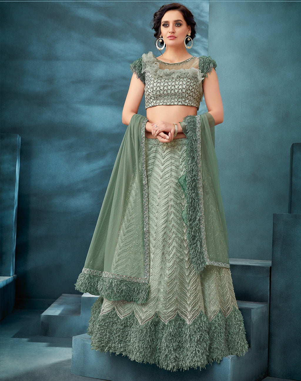 Sage Green Net Embroidered Latest Lehenga Choli Designs With Price