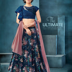 Navy Blue Velvet Digital Print Ladies Lehenga Online Shopping