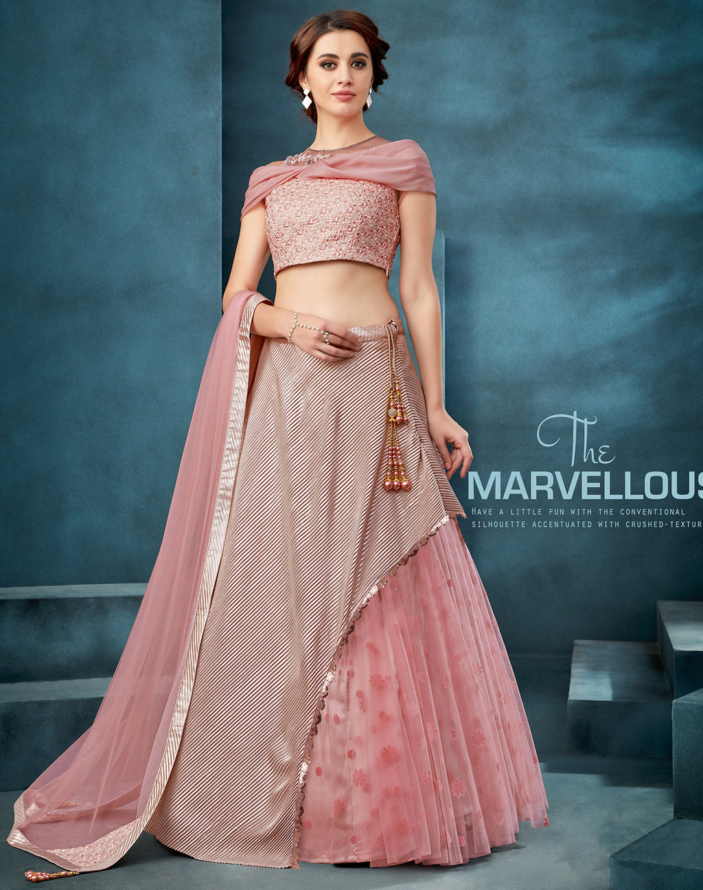 Pink Art Silk And Net Layered Party Wear Lehenga Online