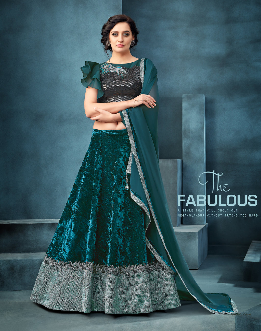 Teal Green Velvet Ladies Fancy Lehenga Online Shopping