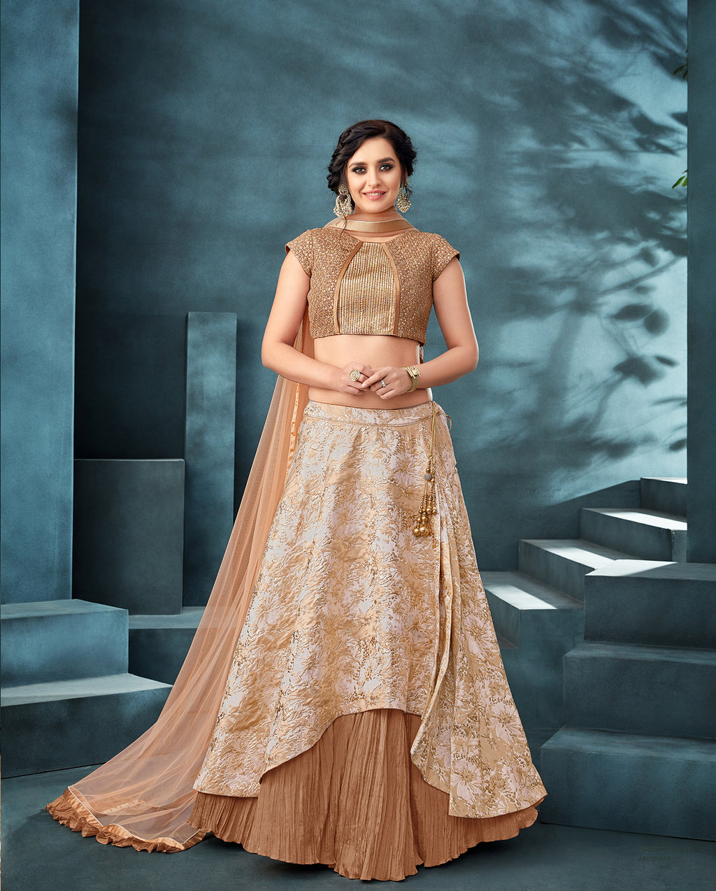 Beige Crushed Silk Latest Lehenga Choli Designs With Price