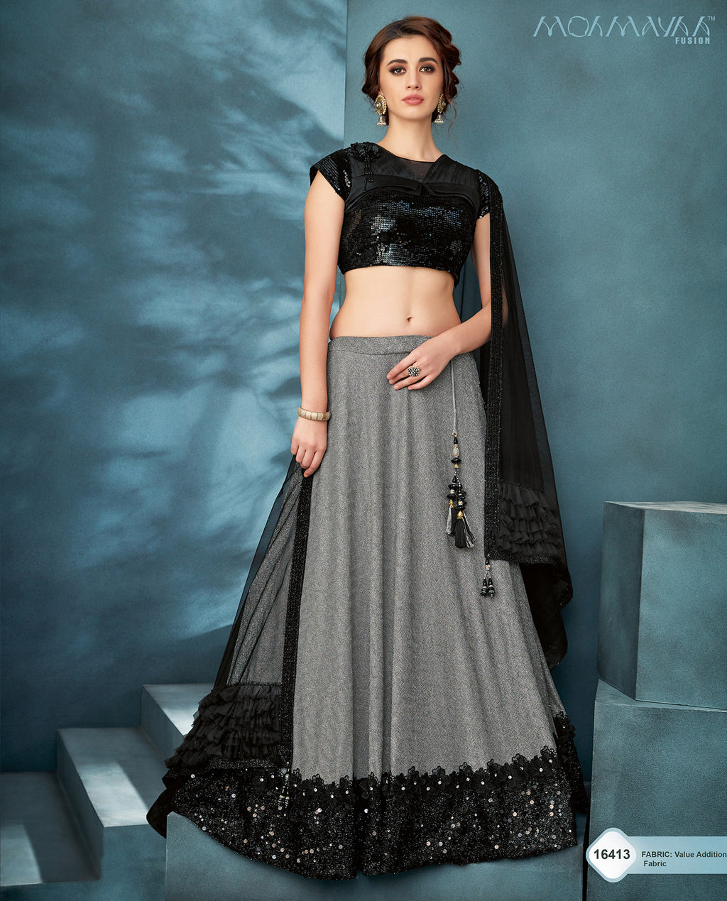 Grey Lycra Designer Lehenga Choli With Indian Price