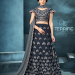 Dark Blue Taffeta Silk Wedding Lehenga Online Shopping