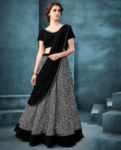 Grey Silk Jacquard New Latest Lehenga Choli