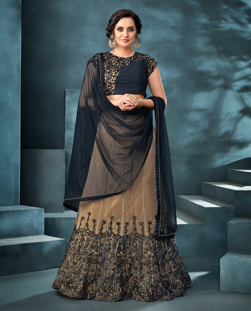 Dark Beige Net Wedding Lehenga For Womens Online