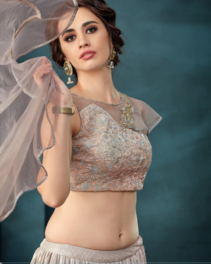 Dusty Rose Lycra Crushed Indian Party Wear Lehenga Choli