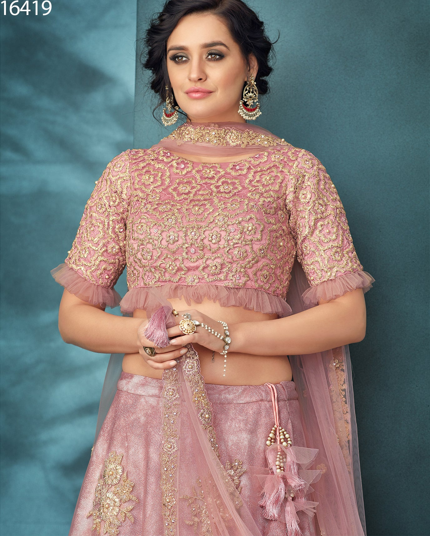 Misty Rose Net And Shimmer Silk Online Wedding Lehenga Shopping