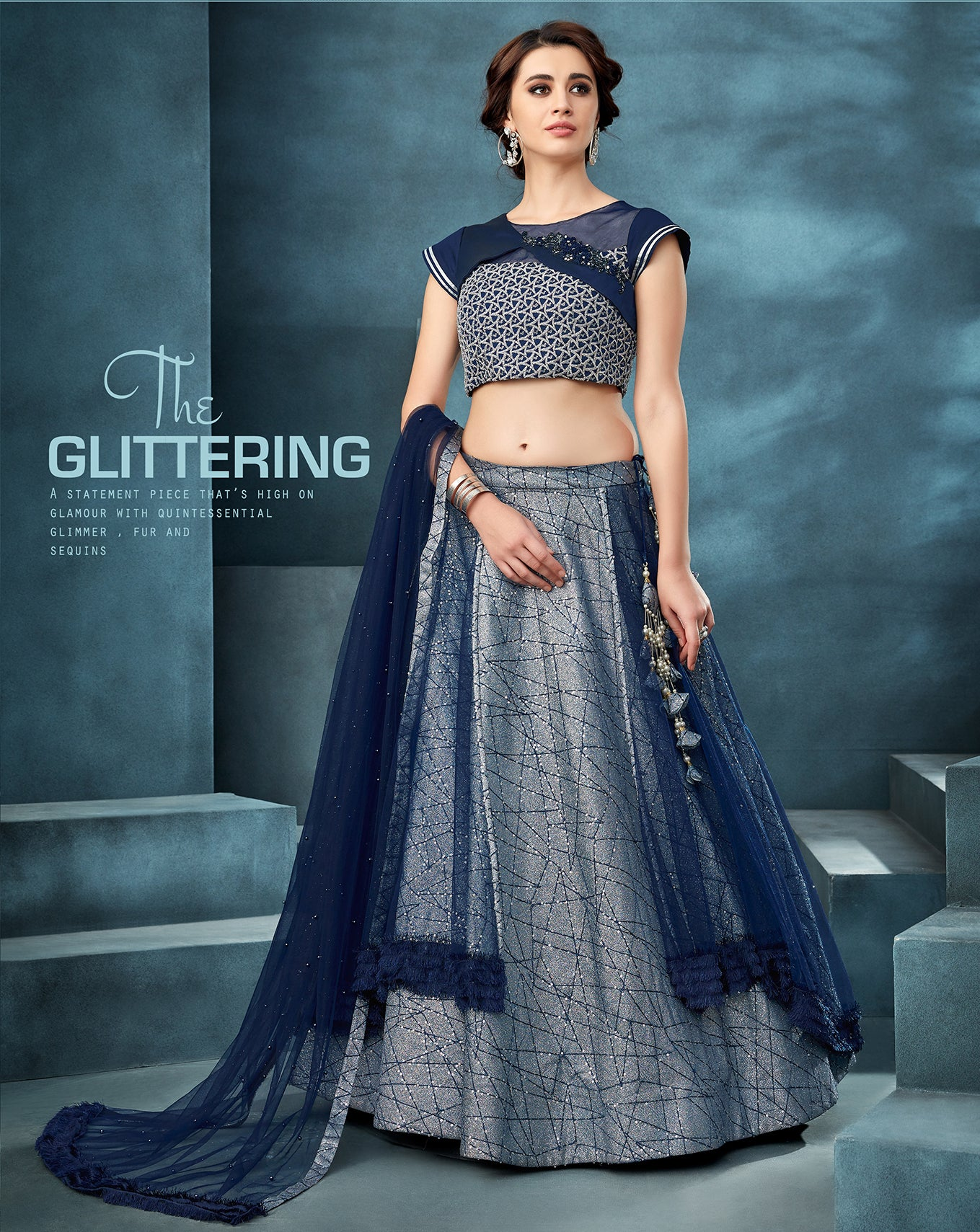 Navy Blue And Grey Fancy Silk Lehenga Choli Wedding Dresses