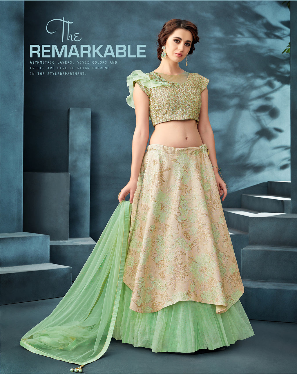 Beige And Sea Green Silk Lehenga Choli Online Shopping @indiandresses.co