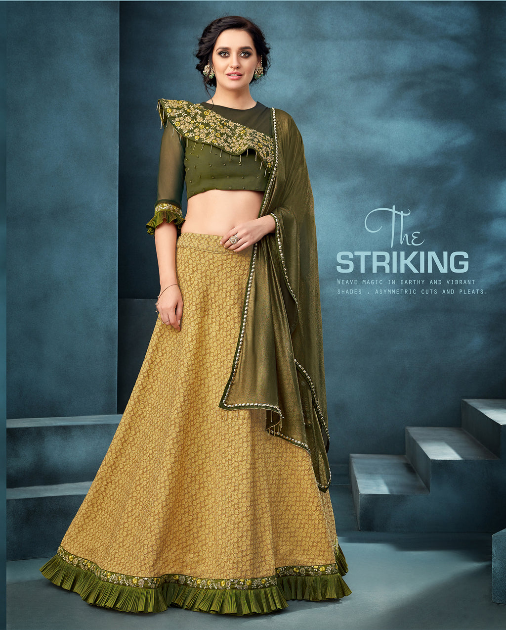 Mustard Silk Jacquard Lehenga Choli Designs For Wedding Online