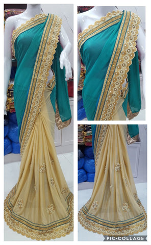 Blue And Beige Padding  Party Wear Ladies Saree With Price
