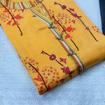 Yellow Cotton Lehriya Anarkali Kurti Palazzo Sets Latest Designs