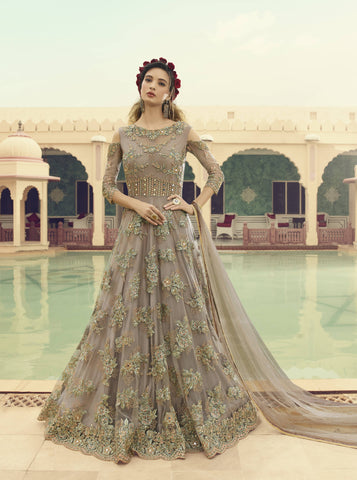 Fawn Beige Embroidered Gown Style Salwar Online Shopping In India