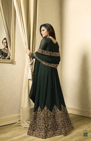 Dark Green Floor Length Latest Online Designer Anarkali Shopping