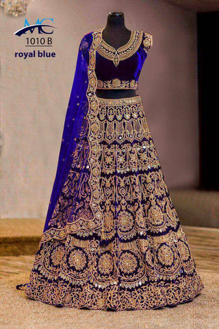 Royal Blue Velvet Wedding Lehnegacholi Online