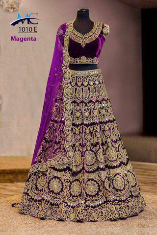 Magenta Pink Velvet Wedding Lehenga Choli Fashion