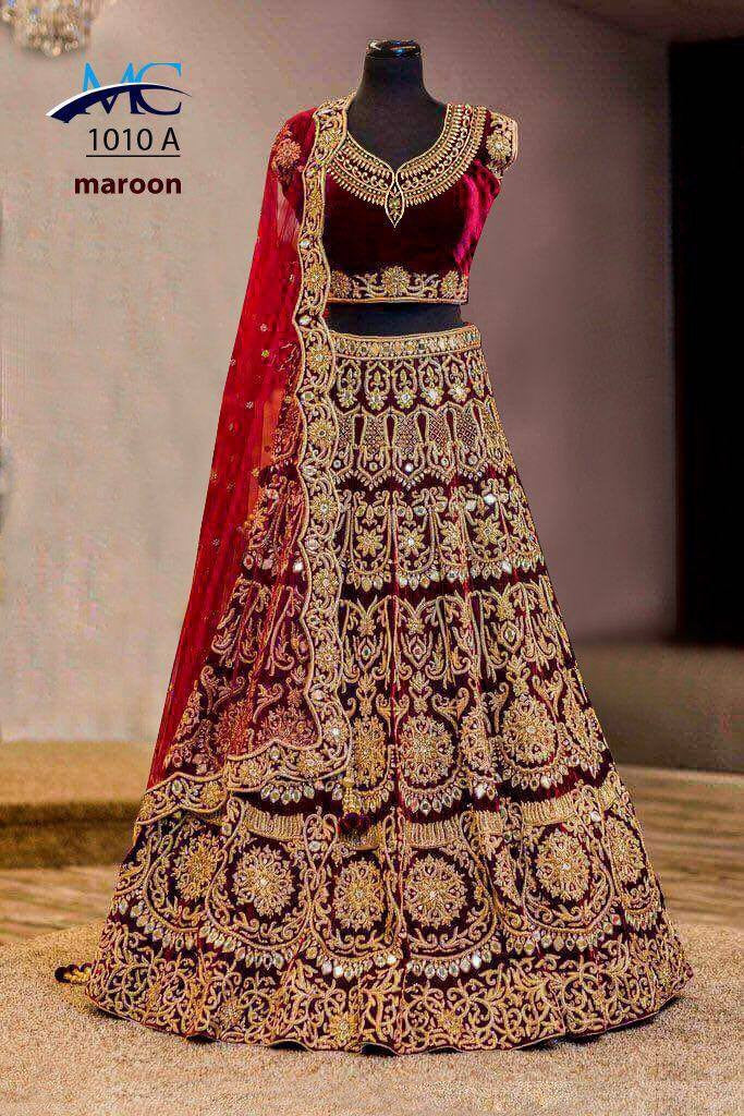 Maroon Velvet Heavy Work Bridal Lehengacholi Fashion