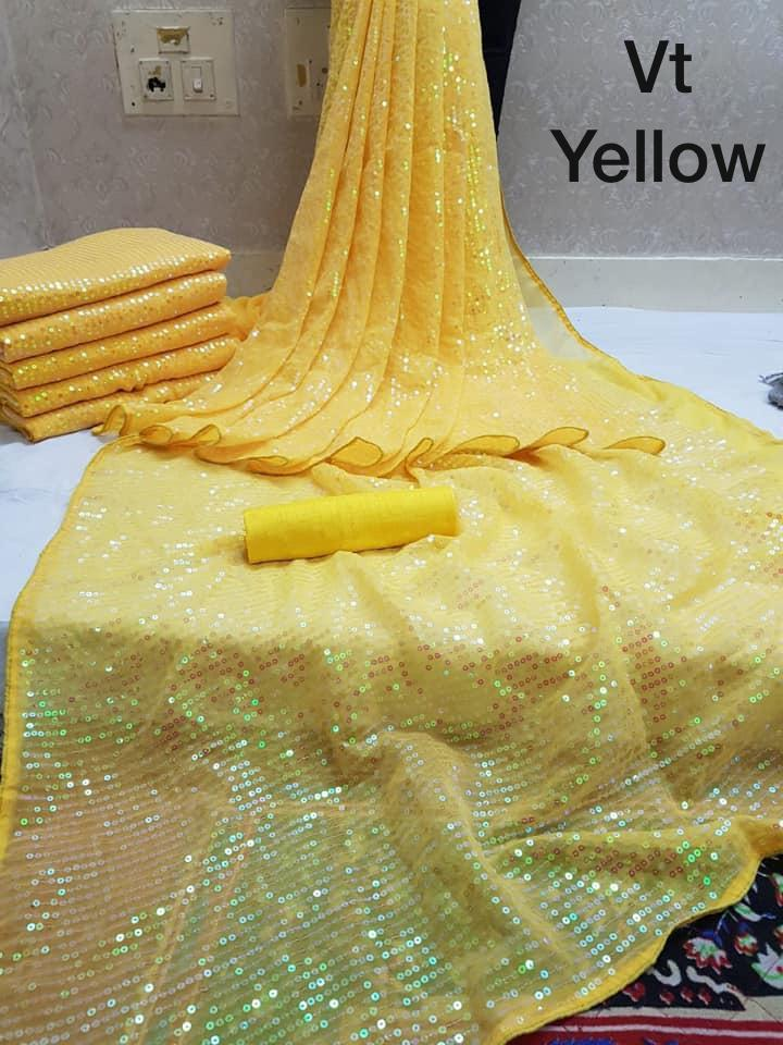 Bright Yellow Sequins Saree in Georgette with Satin Blouse
