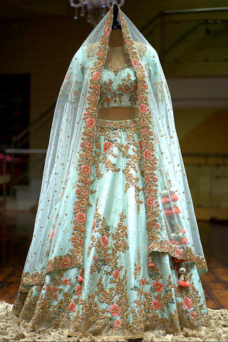 Light Blue Taffeta Silk Embroidered New Indian Choli Dresses Online